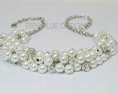 Pearl Necklace, White Pearl Necklace, Chunky Necklace, Pearl Cluster Necklace, White Bridal Jewelry, Bridesmaid Necklace, Bib Necklace,