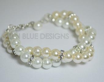 Double Strand Pearl Bracelet, Ivory Pearl Bracelet, Pearl Bracelet, White Pearl Bracelet, White and Ivory Pearl Bracelet, Beaded Bracelet
