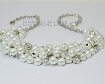 Pearl Necklace, White Pearl Necklace, Chunky Necklace, Pearl Cluster Necklace, White Bridal Jewelry, Bridesmaid Necklace, FREE US SHIPPING