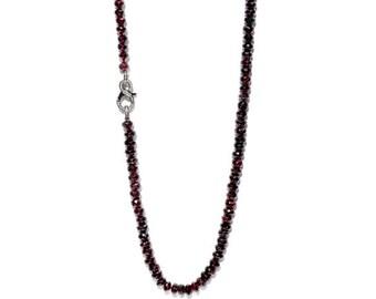 Diamond & Garnet Knotted Long Necklace