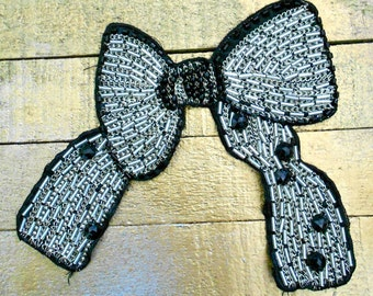 Silver Stitched Beaded Bows