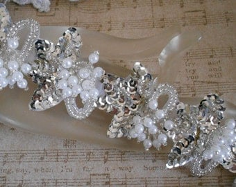 Silver Sequined Pearl Beaded Trim
