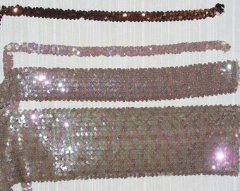 Sequin Trims Brown or Light Tan Stretch Sequin Trim ~/3/4 Inch or 2.5 Inch Wide~Sold By the Yard~New-Shipped free