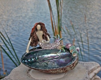 Mermaid on Abalone shell Soap Dish Ring Holder.