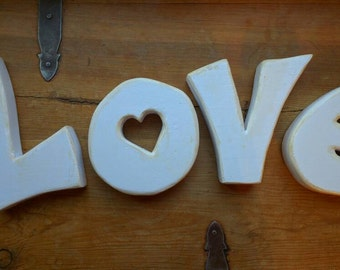 Valentine's Day Decor, LOVE wood letters, Large Cut out letters, Valentine's Decoration Wedding Decor, Handmade. Wooden Hand Painted White