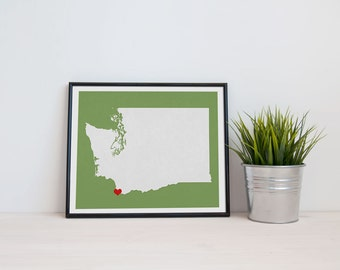 Washington State Map Custom Personalized Heart Print I Love the Pacific Northwest USA Hometown Wall Art Gift Souvenir