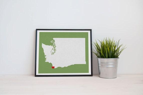 Washington State Map Custom Personalized Heart Print I Love the Pacific Northwest USA Hometown Wall Art Gift Souvenir