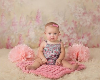 Pink Organic Alpaca luxury big knit bump layer, hand dyed with upcycled floral stretch band & bow prop set, newborn prop set