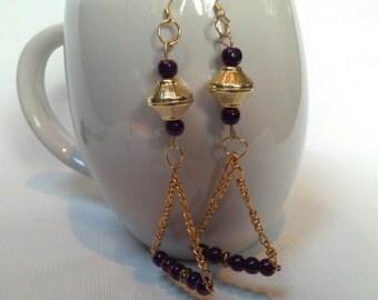 Gold Chain &  Purple Trapeze Earrings, Pearlized Purple Beaded Earrings, Trapeze Chain Earrings, Purple Trapeze  Earrings, Purple Earrings