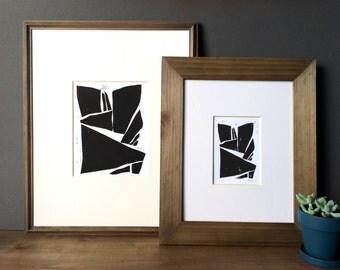 Geometric Modern Forms - Modern Art - Contemporary Art - Home Decor - Linocut Block Print - Original or Digital Print