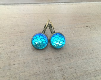 Mermaid earrings, Mermaid scales, mermaid jewelry