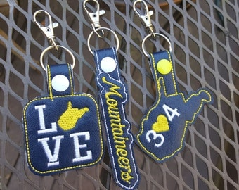 West Virginia Embroidered Key Fobs ~ 304 ~ Love WV ~ Mountaineers ~ Blue & Gold ~ Custom Embroidered Vinyl ~ READY to SHIP