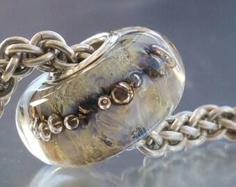 Subtle Rainbow Bubbles European Glass Charm Bead SRA - big hole bead, large hole bead, european charm bracelets