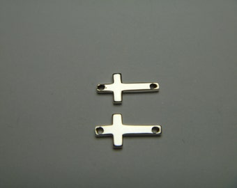10 pcs Sterling Silver Cross Charm 12x6mm Link Connector Pendant