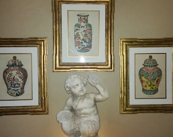 "Set of 3 Decorative TROWBRIDGE prints ""FOURMAINTRAUX VASES ""Limited Edition in Gold frame."
