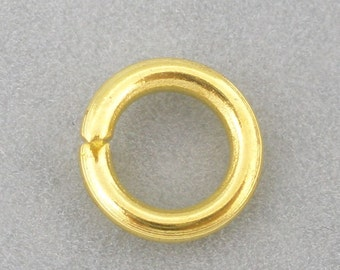 50 Gold Jump Rings - Gold Plated - Open - 15 Gauge - 8mm Dia. - Ships IMMEDIATELY from California - F367