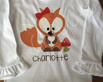 Personalized woodland critter birthday shirt * fox * name * choose your colors