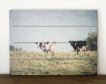 Cow Artwork, Farm Animal Sign, Landscape Photography, Rustic Wood Sign, Farmhouse Plaque, French Country Plank Art, Nature Artwork