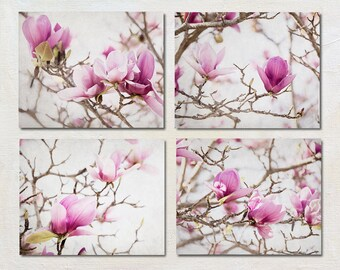 Magnolia Photo Set of Four Prints, Pink Flower Art Set, Floral Cottage Artwork, Shabby Chic Decor, Wall Art for Her, Botanical Picture