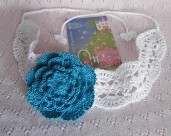 Crochet Girl Headband, Girl Summer Headband, Flower Headband, Lace Girls Head bands, Girls Head band, Teal Flower Head bands
