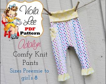 Adalyn Knit Baby Pants. Toddler Pants Pattern, pdf. Girl's Sewing Pattern. Leggings Toddler Sewing Pattern. Infants Pant Pattern. Slim legs