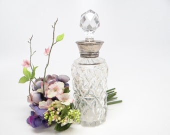 Antique Victorian Sterling Silver Top, English Cut Glass Perfume Bottle