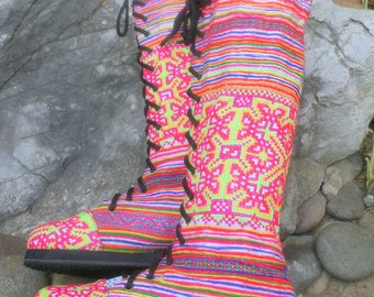 Womens Boho Boots In Colorful Ethnic Hmong Embroidery And Batik Lace Up - Sadie Free Shipping