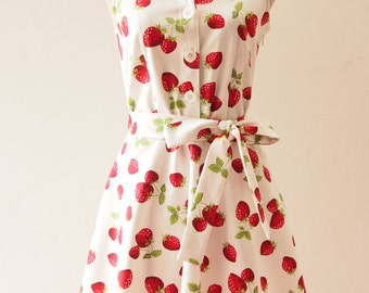 Ready to Ship - Shirt Dress, Strawberry Dress, Vintage Inspired Party Dress, White Tea Dress, White Summer Casual Working Dress, S,M,L