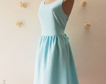 Baby Blue Short Dress Casual Bow Blue Party Dress Blue Summer Dress Blue Bridesmaid Dress Party Dress Wedding Dress - XS-XL, Custom