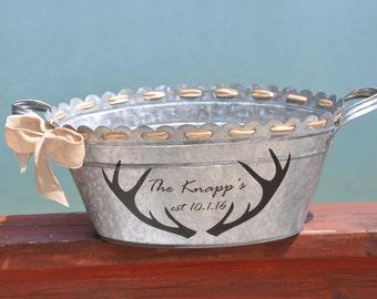 Galvanized beverage tub/ Beverage tub/ Deer Antlers/ Antlers/ Personalized Tub/ Wedding