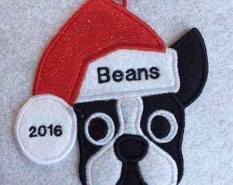 Personalized Boston Terrier Dog Christmas Ornament