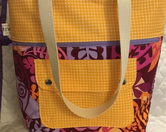 Pink and Orange Leaf Motif Caravan Tote- Ready to Ship