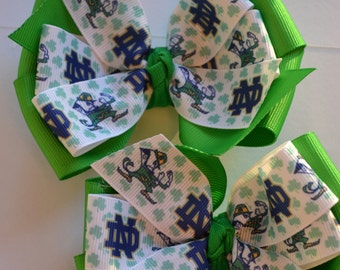 University of Notre Dame Fighting Irish Hair Bows Shamrocks Leprechaun