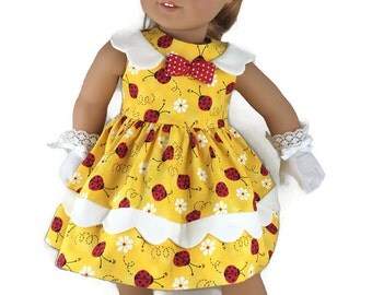 """Vintage Inspired 1950 dress and gloves for American Girl and other 18"""" dolls"""