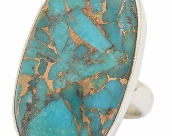 Blue Copper Turquoise Gemstone Ring Solid 925 Silver Jewelry Size 6.5   PRICE SLASHED!