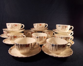 Copeland Spode Wicker Dale 13 Cups and Saucers