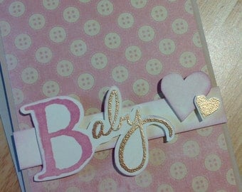 Card - Baby - Pink & Gold