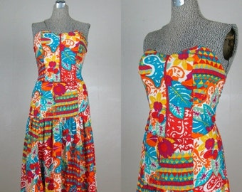 25% Off Summer Sale.... Vintage 1980s 2pc Strapless Dress 80s Funky Print Bustier and Skirt Set by Platinum Size 4-6/S
