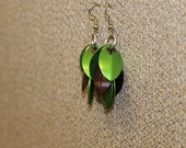 Green and brown shaggy scale earrings
