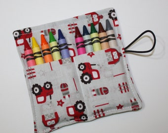 Crayon Rolls Party Favors, Tractors Barns Farm, holds 10 crayons, Birthday Party Favors