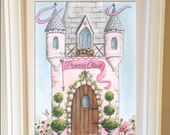 Fairy Princess Wall Art, Personalized Castle, Fine Art Print, 5 Sizes, Pink Princess Bedroom, Princess Themed Baby Shower Gift