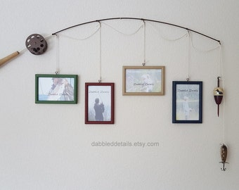 Fishing Pole Picture Frame - Brown or Silver Pole - 4 - 4 in x 6 in Picture Frames - Med Green, Dark Red, Khaki Tan, Deep Blue
