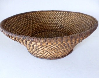 Antique French Coiled Rye Straw Basket Home Decor