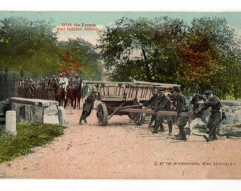 French and Belgian Armies, Vintage Military Post Card, World War One Postcard, W.C.A. Postcard Series 145, Postcard 18, WWI Memorabilia