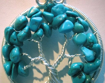 Wire Wrapped Tree of Life,  Tree of Life with Turquoise Nuggets, Turquoise Tree of Life, Turquoise & Silver Tree