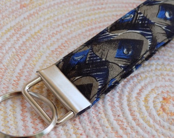 Upcycled Silk Necktie Key Fob. Gifts for Him Under 10 Stocking Stuffer Handmade Keychain Gift for Teen Teacher Coworker Lanyard Ring Chain