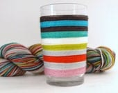Self Striping Fingering Weight Sock Yarn, Wool and Nylon, 10 Color Stripe, Hand Dyed, Spring Fling