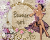 Shop Banner Set shop icon,new etsy cover/banner,avatar/profile picture-pin up girl,vintage,bird cage