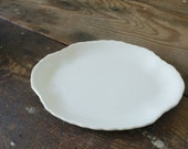 Vintage Platter Creamy White Oval Serving Platter Farmhouse Decor Wall Hanging Open Shelving Display