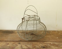 Antique Wire Basket Collapsible Lid Egg Basket with Handles French Country Farmhouse Style Display